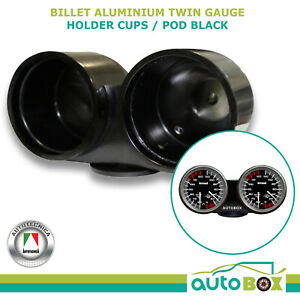 Dual Gauge Billet Aluminium Holder Cup Pod Black Suit 60mm 52mm Twin Double