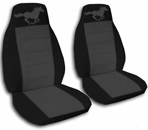 Black And Charcoal Horse Seat Covers For A 1994 To 2004 Ford Mustang