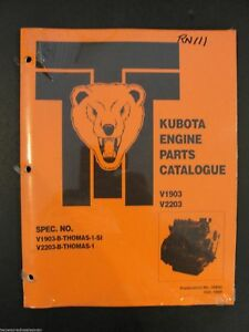Kubota V1903 V2203 Series Diesel Engine Parts Manual Thomas Skid Steer