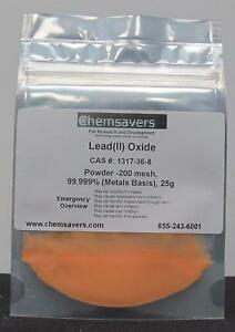 Lead ii Oxide Orange Powder 200 Mesh 99 999 metals Basis 25g