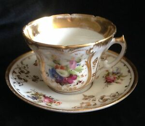 Old Paris Cup Saucer Handpainted Flowers