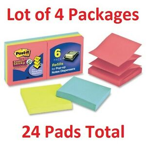 Four 4 Packages Post it Pop up Notes Pack 3 x3 6 Pads pk Colors