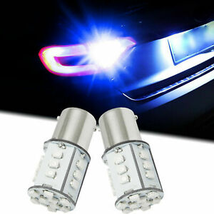 2x Blue 1156 Projector Lens Led Parking Backup Light Bulbs 5007 7506 7527 1093