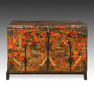 Rare Antique Trunk Painted Pine Iron Dragon Tibet Chinese Furniture 18th C