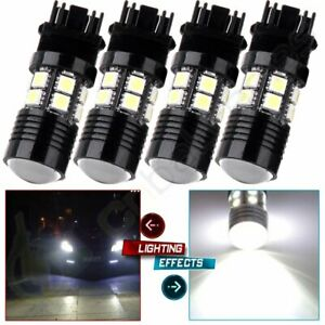 4x Super White Cree Q5 7w 12 5050 Smd Led Day Time Running Lights 3157 3156