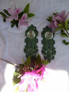 Two Cast Iron Decorative Door Plates Acrylic Glass Knobs Antique Teal Gold