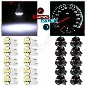 10x White T10 8 3528 Smd Led Bulbs W Twist Lock Sockets For Cluster Dash Light