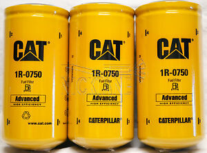 3 New Cat 1r 0750 Fuel Filters Sealed Made In Usa Caterpillar 1r0750 Oem