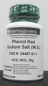 Phenol Red Sodium Salt 95 dye Content Water Soluble Ph Indicator acs 25g