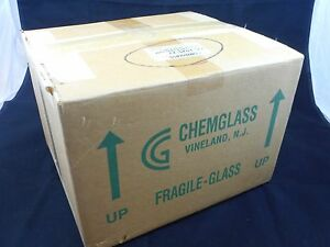 New Chemglass Glass 5000ml 5l Vertical 3 neck Round Bottom Morton Flask 29 42