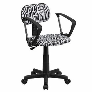 Flash Black And White Zebra Print Computer Chair With Arms bt z bk a gg