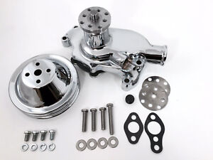 Sb Chevy Water Pump Short Sbc 350 V8 High Volume Chrome Wp Pulley Kit 2 Groove