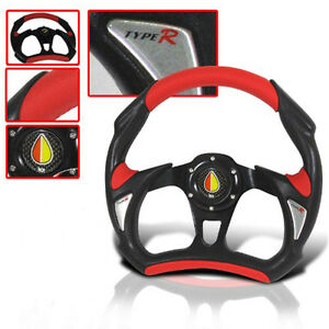 Universal Steering Wheel With Black Red And Horn Button Honda Acura Mitsubishi