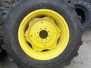 Two 14 9x28 14 9 28 John Deere 5105 Tires W 6 Loop Wheels With Centers