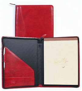 Scully Leather Zippered Pad Cover Organizer Red 5012z06
