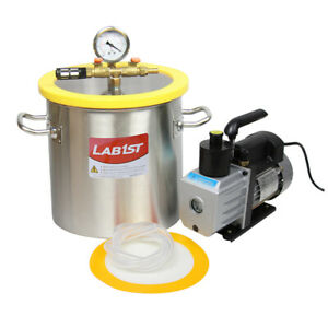 3 Gallon Stainless Steel Vacuum Degassing Chamber Kit 3cfm Vacuum Pump Us Only