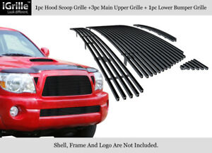 Fits 2005 2010 Toyota Tacoma Stainless Steel Black Billet Grille Combo