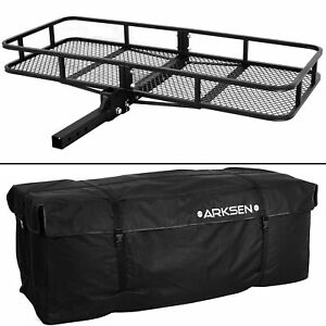 60 X 25 Cargo Hauler Carrier Hitch Mounted Receiver Luggage Basket Bag Combo