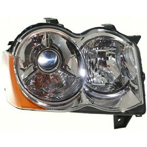 Headlight For 2008 2009 2010 Jeep Grand Cherokee Right Chrome Housing Hid