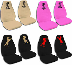 Cc Front Set Cotton Car Seat Covers To Fit 94 04 Mustang Horse And Cobra Design