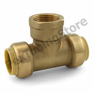 10 3 4 Sharkbite Style Push fit X 3 4 Fnpt female Threaded Lf Brass Tees