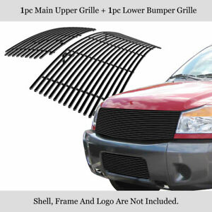 For 2004 2007 Nissan Titan Armada Black Stainless Steel Billet Grille Combo