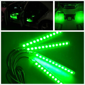 Green 4x12 Led Car Suv Interior Footwell Neon Decorative Atmosphere Light Strips