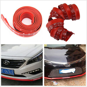 2 5m Red Rubber Car Front Bumper Spoiler Lip Splitter Valance Chin Protector Kit