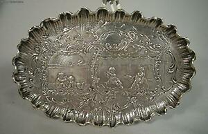 Antique Continental 800 Silver Cherub Card Tray