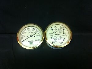 Gold Gauge 5 Quad Set With Programmable Speedo Street Rod Hot Rod Universal