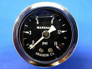 Marshall Gauge 0 15 Psi Fuel Pressure Oil Pressure Black 1 5 Diameter Liquid