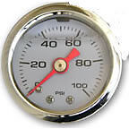 Fuel Pressure Gauge Liquid Filled 0 100 Psi White Face Red Needle Chrome