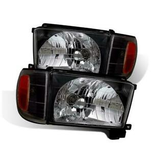 For 1996 1998 Toyota 4runner Black Clear Glass Headlights W Corner Lights