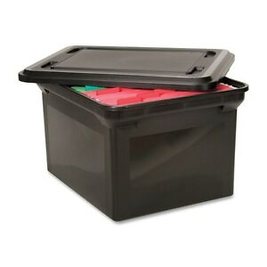Advantus File Tote Storage Box W lid Legal letter Plastic Black