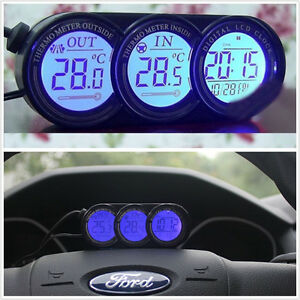 3in1 blue orange led backlight digital display thermometer clock car suv