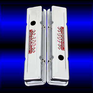 Chrome Valve Covers Fits Small Block Chevy 400 Engines Factory Height Red Sbc