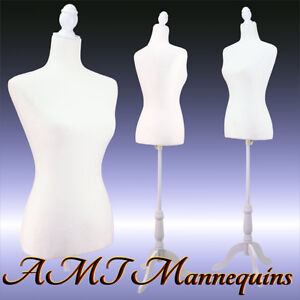 Vintage style Female Mannequin White Toros White Tripod Stand Dress Form l02