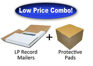 50 Lp Record Album Mailers 100 Protective Pads combo Discount