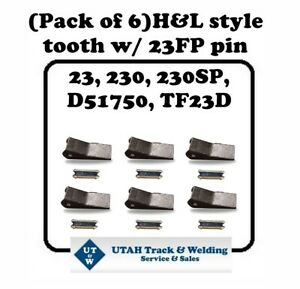 Set Of 6 Backhoe Skid Bucket Teeth With Pins 23 230 230sp D51750 Tf23d