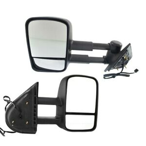 Tow Towing Mirror Power Heated Textured Black Pair Set Of 2 For Gm Pickup Suv