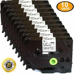 10pcs Black On White Label Tape Compatible For Brother Tz Tze 231 P touch Tze231