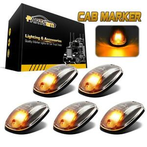 5pcs Clear Amber Led Cab Roof Marker Top Clearance 264146cl Lights For Truck Suv