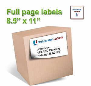 1000 8 5 X 11 Full Page Shipping Label Inkjet Laser Vertical Slit In Back