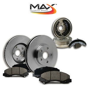 Premium Oe Kit Front Brake Rotors Ceramic Pads Rear Brake Drums Shoes