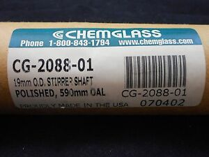 New Chemglass Glass 19mm Od 590mm Oal Ground Polished Stirrer Button Type Shaft