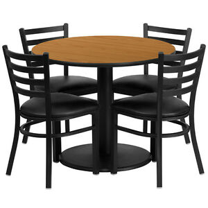 36 Round Restaurant cafe bar Natural Finish Table And Chair Set