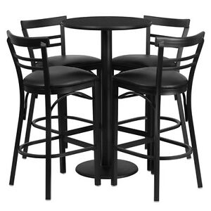 24 Round High top Restaurant cafe bar Black Table And Stool chair Set