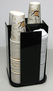 Cup And Lid Spinning Coffee Dispenser Holder Condiment Caddy Rack Organizer