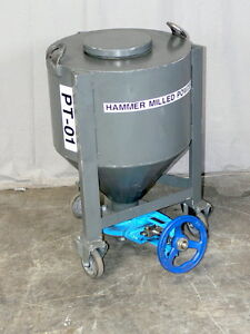 Heavy Duty 210 Kg Cone Bottom Transfer Tank W Warren 3 Knife Gate Valve