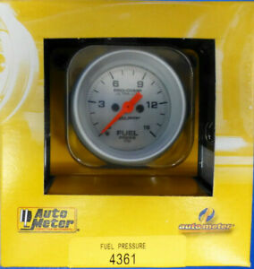 Auto Meter 4361 Ultra Lite Electrical Fuel Pressure Gauge 2 1 16 0 15 Psi Silver